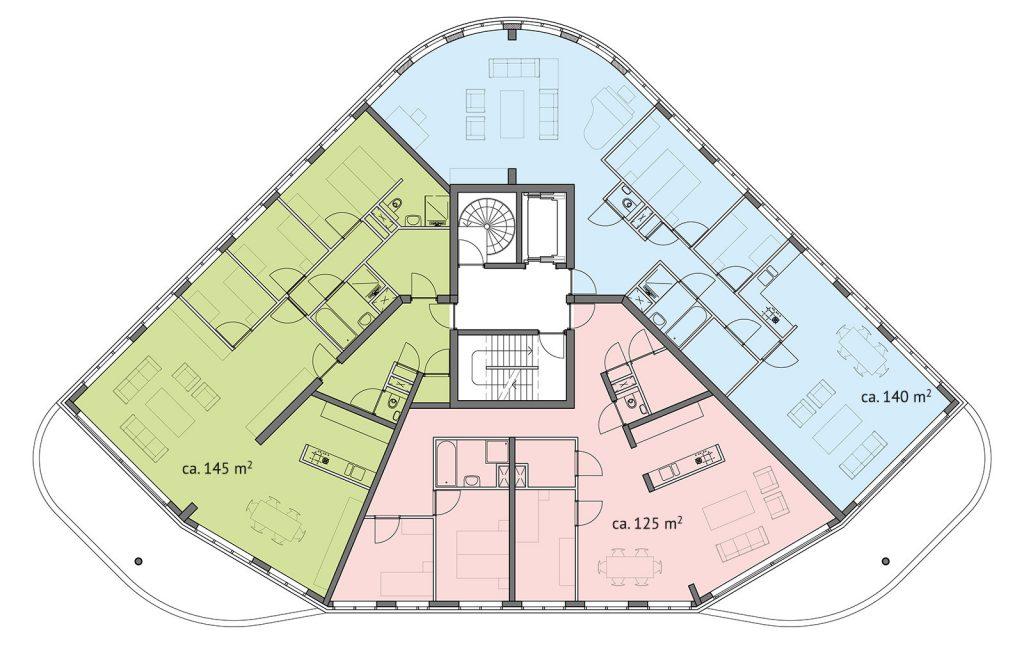 Drie appartementen op één verdieping