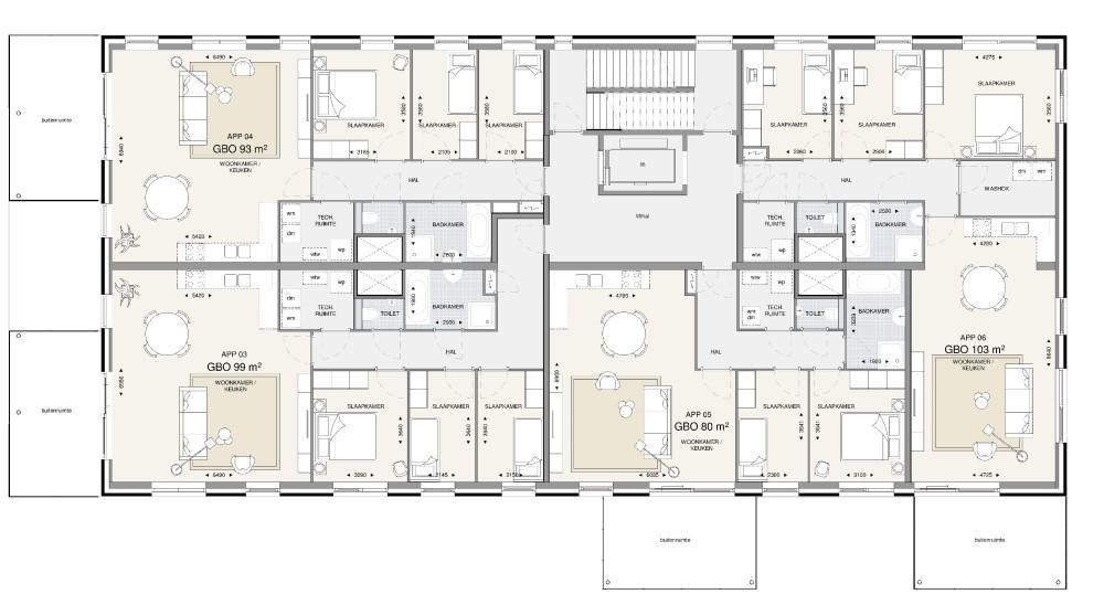 Appartementsgebouw 1 – 1e t/m 3e verdieping
