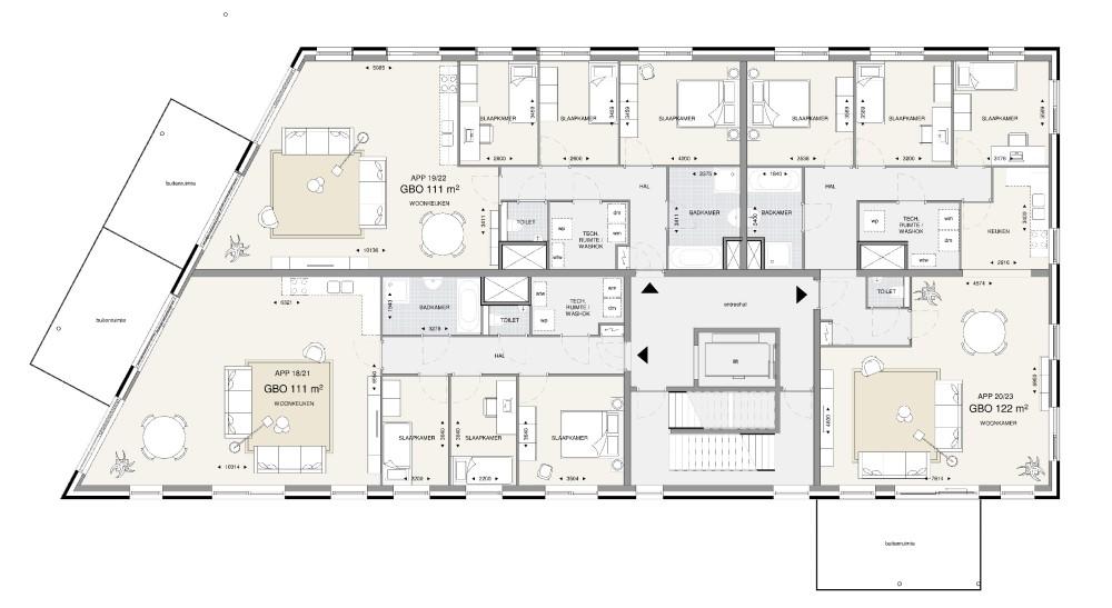 Appartementengebouw 2 – 1e en 2e verdieping