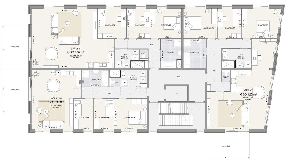 Appartementengebouw 3 – 1e en 2e verdieping